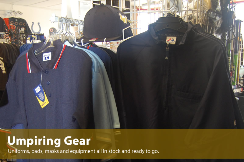 Umpiring equipment and gear in stock.